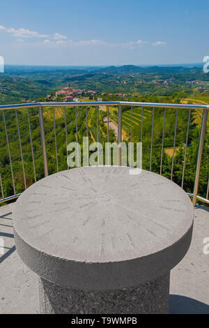 The view from the top of the Gonjace Observation Tower on Mejnik Hill in Primorska, Slovenia. Smartno can be seen in the distance. In the foreground i - Stock Image
