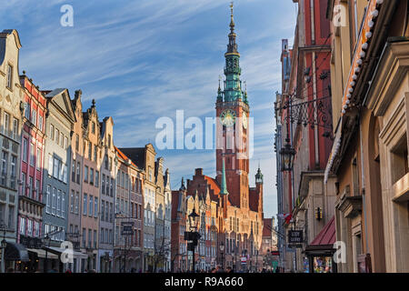 Dlugi Targ Long Market street and Town Hall tower. Gdańsk Poland - Stock Image