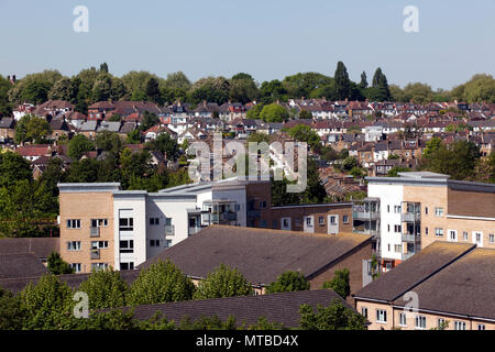 Aerial view  looking up Ellerdale  Street,  towards  Hilly Fields Park, at the top of the Hill, Lewisham, London - Stock Image