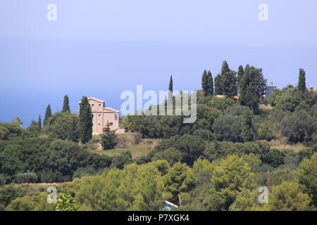 View of Metaxata village and the Ionoian Sea from the village of Korkoumelata in Kefalonia, GREECE, PETER GRANT - Stock Image