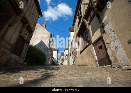 Chateaudun, France. Picturesque view of the medieval upper town of Chateaudun, at the lower end of Rue Saint Luben. - Stock Image