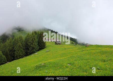 Foggy day in Obermutten, Switzerland. - Stock Image