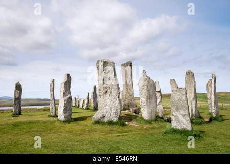 Callanish Stone Circle Neolithic standing stones from 4500 BC Calanais Isle of Lewis Outer Hebrides Western Isles - Stock Image
