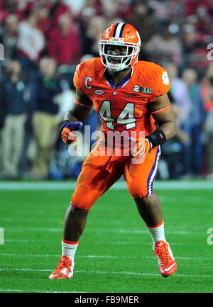 Glendale, AZ, USA. 11th Jan, 2016. B.J. Goodson #44 of Clemson during the 2016 College Football Playoff National - Stock Image