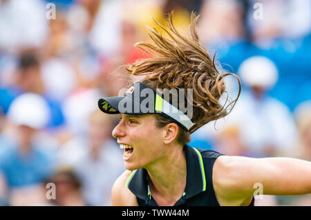 Eastbourne, UK. 23rd June 2019.  Johanna Konta of Great Britain in action on her way to victory over Dayana Yastremska of Ukraine in their first round match at the Nature Valley International tennis tournament held at Devonshire Park in Eastbourne . Credit : Simon Dack / TPI / Alamy Live News - Stock Image