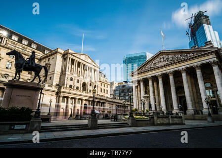 Traffic trails outside the Bank of England, London, UK - Stock Image