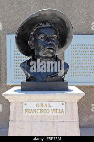 Bust, statue, of Pancho Villa in Chihuahua City, Chihuahua, Mexico. - Stock Image