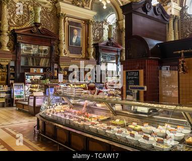 Interior of Eliseevsky Gastronom #1 Food Emporium, Tverskaya Street, Moscow Russia - Stock Image