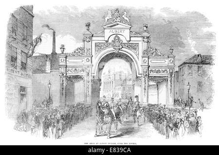 Arch at Albert bridge over the river Irwell Manchester circa 1853 - Stock Image