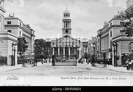 York Gate and Marylebone Church, Regents Park, London.      Date: circa 1905 - Stock Image