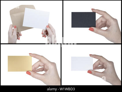A woman holding booklet, flyer, business card. Identity template - Stock Image