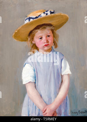 Mary Cassatt, Child in a Straw Hat, painting, c. 1886 - Stock Image