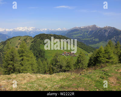 Small village Obermutten, Canton of Grisons, Switzerland - Stock Image