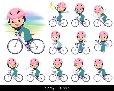 A set of old women wearing hijab on a road bike.There is an action that is enjoying.It's vector art so it's easy to edit. - Stock Image