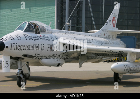 Hawker Hunter F 58 of 'Hunter club' based in St. Stephan, Switzerland painted in 'newspaper-style' - Stock Image