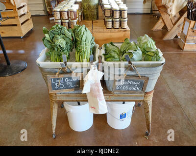 Fresh southern locally grown greens and cabbage on display for sale at a rural Alabama farm market or farmer's market in Pike Road Alabama, USA. - Stock Image