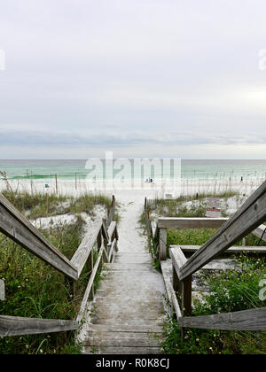 Sandy stairs leading to a Florida white sand beach in the panhandle on the Gulf coast near Destin Florida USA. - Stock Image
