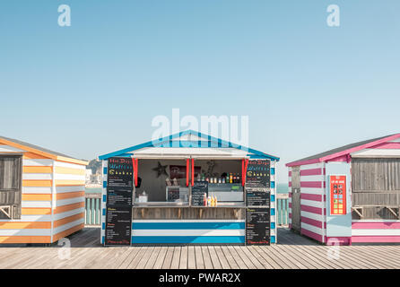 Booths on Hastings Pier, East Sussex, UK - Stock Image