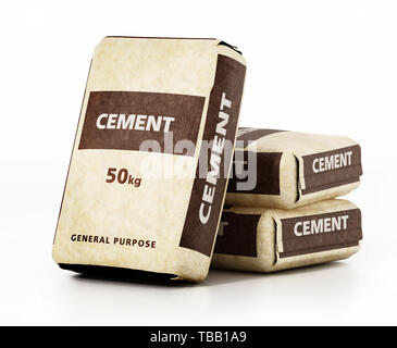 Cement bags with generic package design isolated on white background. 3D illustration. - Stock Image