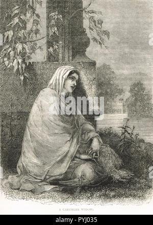 A Kashmiri widow, Indian Famine of 1876-78, Kashmir, India - Stock Image
