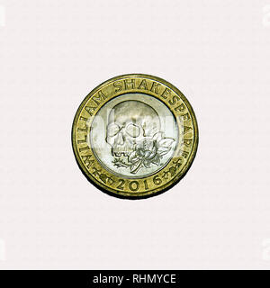 Limited edition British £2 coin commemorating Shakespeare with a skull and rose - Stock Image