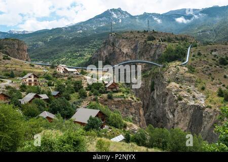 France, Hautes Alpes, Pays des Ecrins, penstock of Argentiere la Bessee - Stock Image