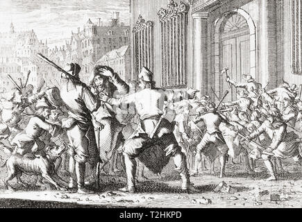 Catalan peasants revolting in Barcelona, Catalonia, Spain on Corpus Christi day, May 1640 at the beginning of the Reapers' War, or Catalan Revolt. - Stock Image