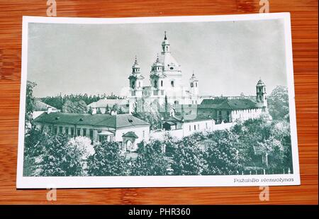 Vintage Black and White Postcard showing Pažaislis Monastery and the Church of the Visitation in Lithuania - Social History - Stock Image