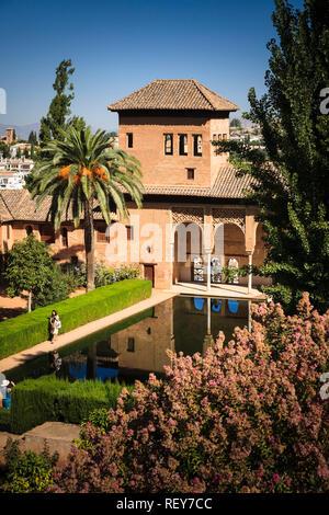 Torre de las Damas at the Alhambra Palace in Granada Spain - Stock Image