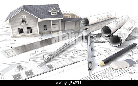3D House, drawings and sketches. Rolls, Ruler, Pencil, Eraser and Divider of metal. 3D render. - Stock Image