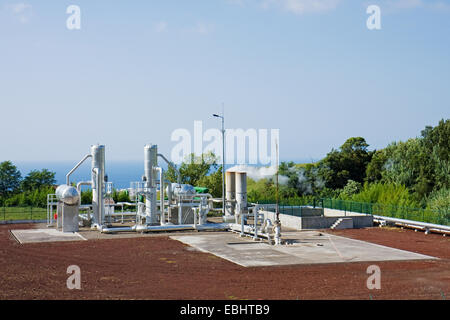 Geothermal powerplant near Riberia Grande on the island of São Miguel, Azores. This powerplant produces electricity - Stock Image