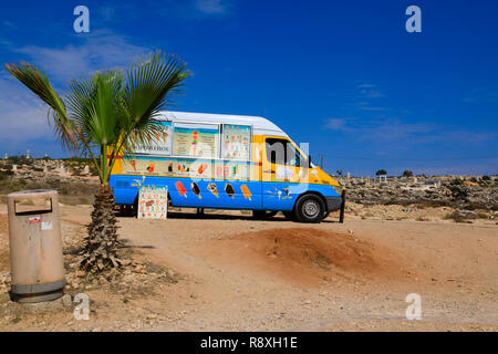 Ice cream van at the Love Bridge site, Ayia Napa, Cyprus October 2018 - Stock Image