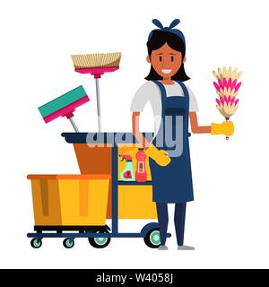 Cleaner worker with cleaning products and equipment - Stock Image