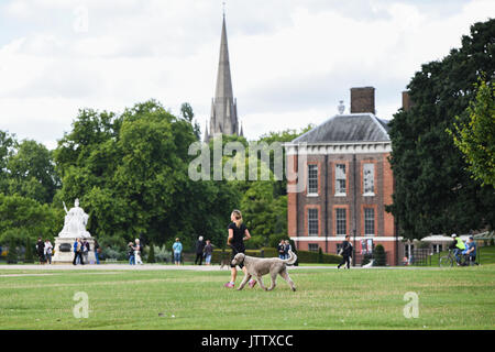 London, UK. 10th August, 2017. A woman takes advantage of the dry weather to walk her dog through Kensington Gardens in London, UK this morning. Credit: BSFUK/Alamy Live News. - Stock Image