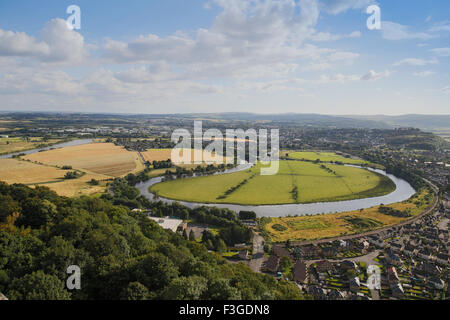 The River Forth and Stirling viewed from The National Wallace Monument, Stirling in Scotland - Stock Image