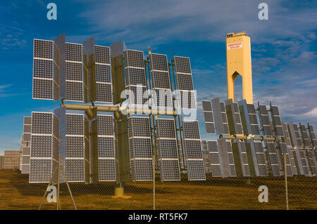 Solar power plant, Sanlucar la Mayor, Seville province, Region of Andalusia, Spain, Europe - Stock Image