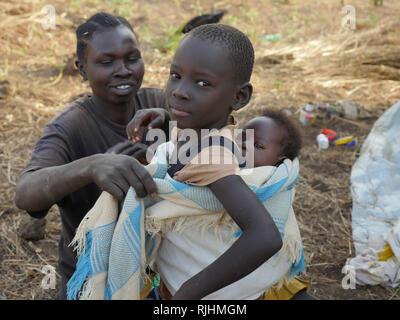 UGANDA - Palabek refugee settlement.  Daily scenes of refugees. - Stock Image