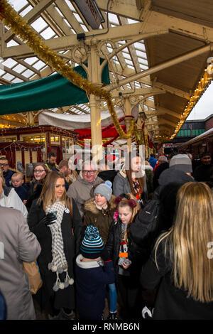 UK, England, Lancashire, Bury, East Lancashire Railway Bolton Street Station, Santa Special passengers on platform - Stock Image