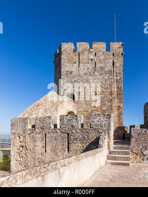 Palmela, Portugal. Keep tower or watchtower of the medieval Castelo de Palmela Castle - Stock Image