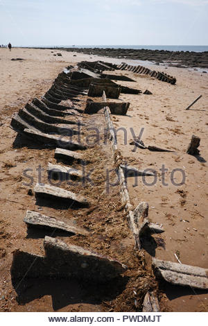 Wreck of the Sheraton steam trawler on the beach at Hunstanton: Norfolk. - Stock Image