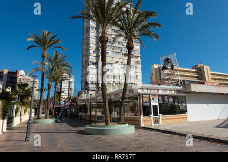 Benidorm, Costa Blanca, Spain, 25th February 2019. Two staff members at the Beachcomber pub in Benidorm New Town on the British square. Two British tourists have been arrested in relation to the alleged attack. Seen here is Sinatras, aA Touch Of Class Bar which is not connected to the reported incident. Credit: Mick Flynn/Alamy Live News - Stock Image