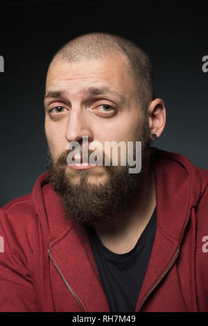 Portrait cool man with beard - Stock Image