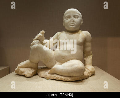 Marble Statue of a Child. Mid 4th Century BC. Temple of Eshmun, Lebanon. Directorate General of Antiquities-Lebanon. - Stock Image
