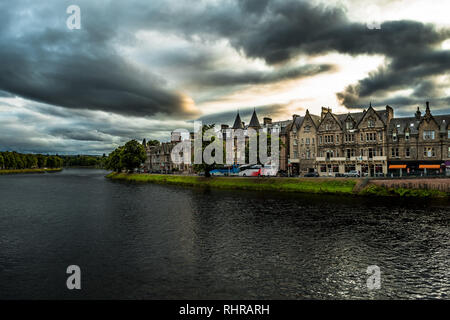 Old Houses In A Street Of The City Inverness At The River Ness In Scotland - Stock Image