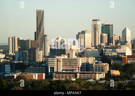 City CBD skyine of Brisbane, the Queensland state capital from Eildon Hill, Windsor, Queensland, Australia - Stock Image