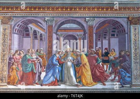 The Marriage of the Virgin, Domenico Ghirlandaio, 1485-1490, Cappella Tornabuoni, Tornabuoni Chapel, Basilica di Santa Maria Novella, Church of Santa  - Stock Image