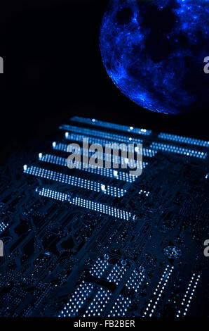 giant circuit-board travelling in outer space - Stock Image