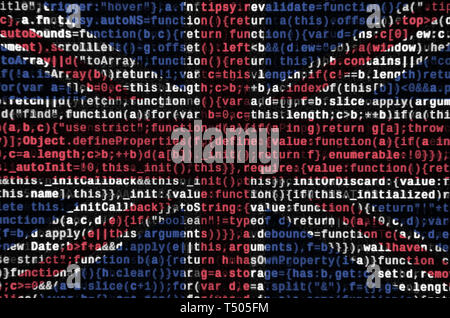 Great britain flag  is depicted on the screen with the program code. The concept of modern technology and site development. - Stock Image