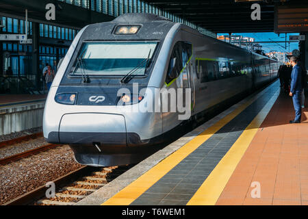 Aveiro, Portugal - April 29, 2019: Platform at Aveiro train station Portugal - Stock Image
