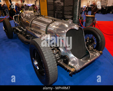 Three-quarter front view of the Napier-Railton, on the Brooklands Museum Stand, at the 2018 London Motor Show - Stock Image